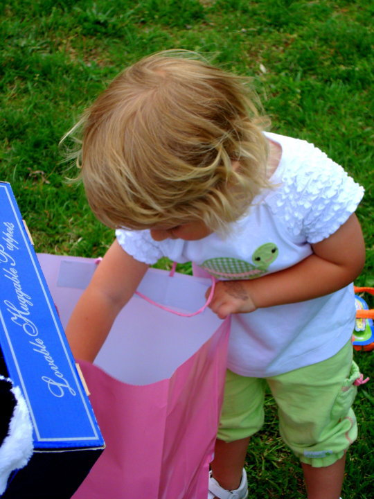 Little girl looks into birthday present bag in a park.